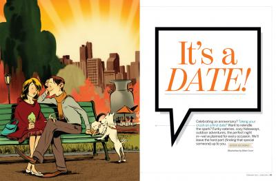 """5280 Magazine spread for """"It's a date"""" article in February 2012 article"""